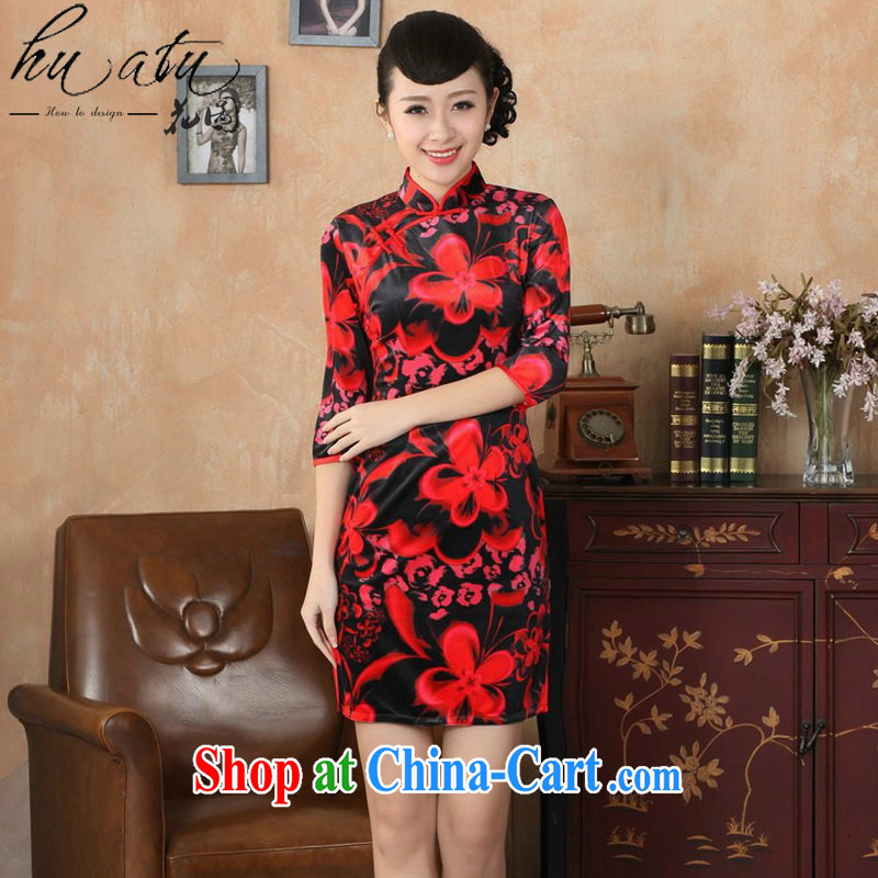 Spend the autumn and the cheongsam dress Tang replacing the collar improved-true velvet cheongsam qipao Stretch Dress show red 2 XL