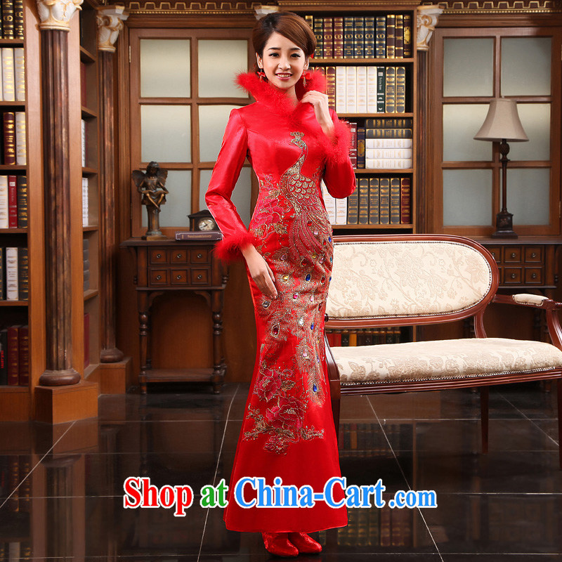 A good service is 2015 new winter bridal wedding dress cotton cheongsam Chinese Winter clothing crowsfoot long serving toast red winter 2XL