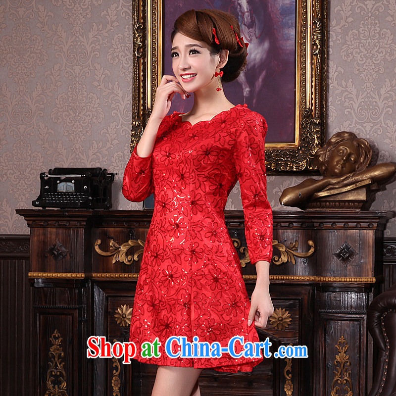 A good service is 2014 new Winter load bridal toast clothing wedding dress red short Chinese woman dresses red 9 2 cuff XL