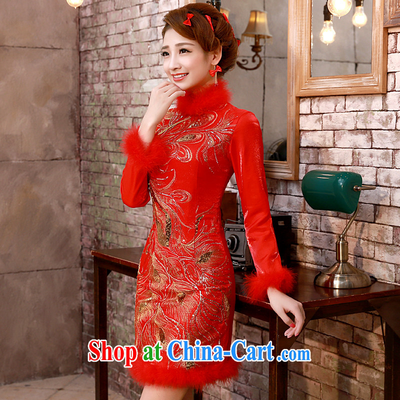 A good service is 2015 new winter red Chinese brides winter clothing wedding dress toast serving short cheongsam dress red winter, XL