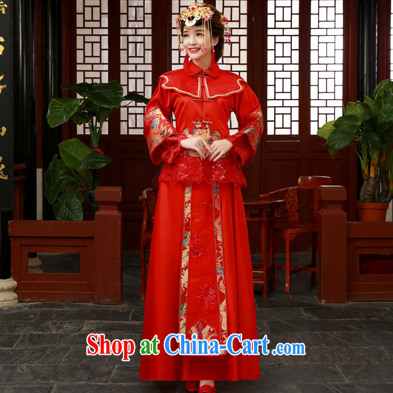 A good service is 2015 new bride married Yi wedding dress show reel outfit serving toast serving Phoenix and Sau kimono red Sau Wo service 2 XL