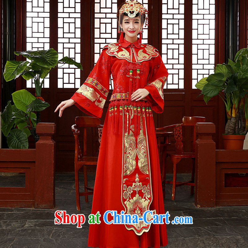 A good service is 2015 new wedding dress show reel Service Bridal married cheongsam dress uniform toast use phoenix Sau kimono red Sau Wo service 2 XL