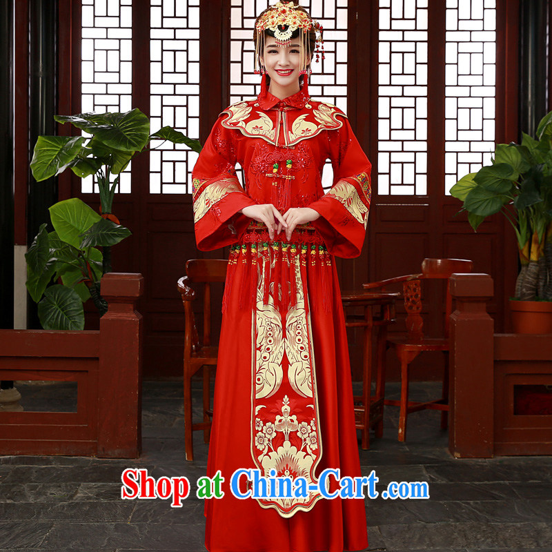 A good service is 2015 new wedding dress show reel Service Bridal married cheongsam dress uniform toast use phoenix Sau kimono red-su Wo service 2 XL, good service, and, shopping on the Internet