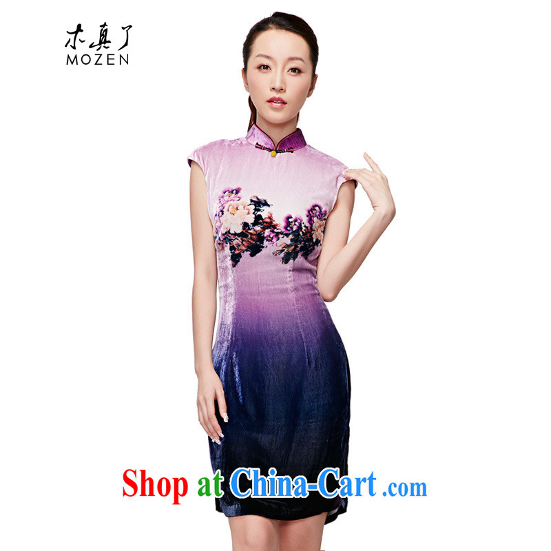 Wood is really the MOZEN 2015 spring and summer new the velvet short sleeve cheongsam dress elegant female 11,516 17 light purple XL