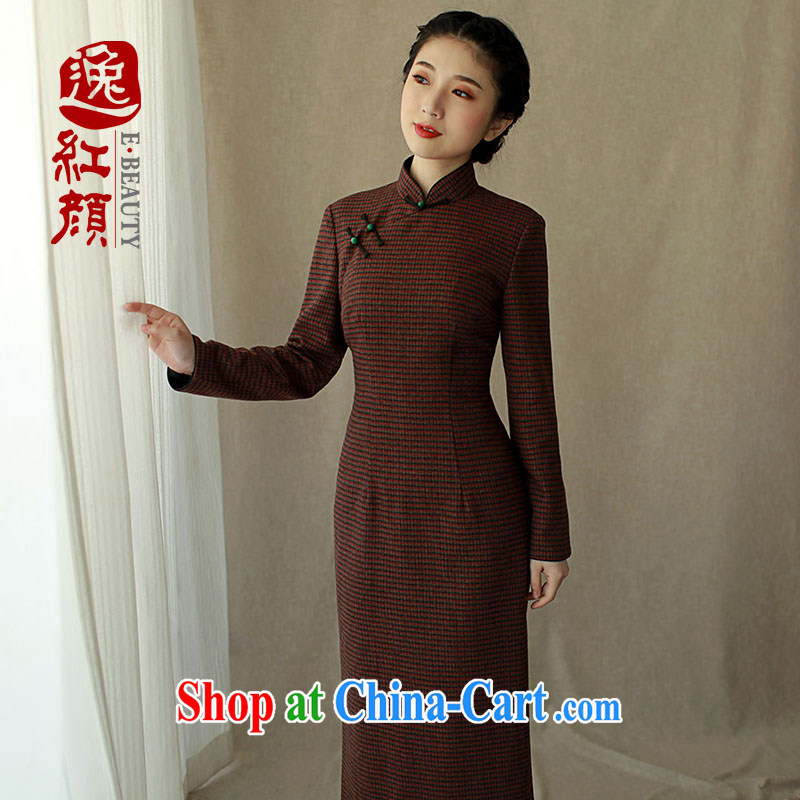 The proverbial hero once and for all, and as soon as possible video fall and winter female wool dresses skirts 1000 bird, a tight long-sleeved long-long skirt deep red 2 XL