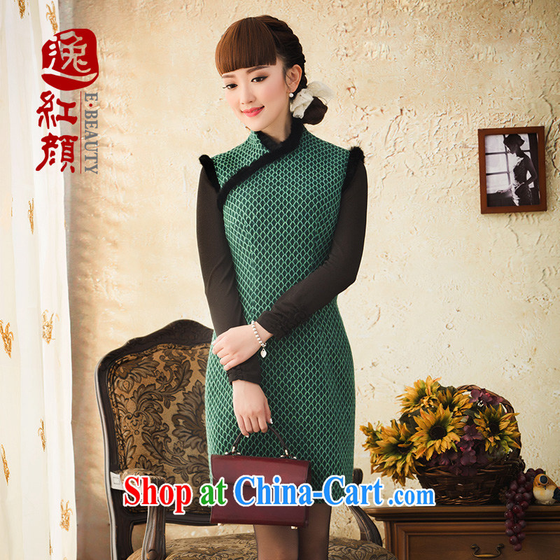 proverbial hero Once warm Jade China wind beauty of Korea cheongsam dress spring 2015 video thin cheongsam dress retro green 2 XL