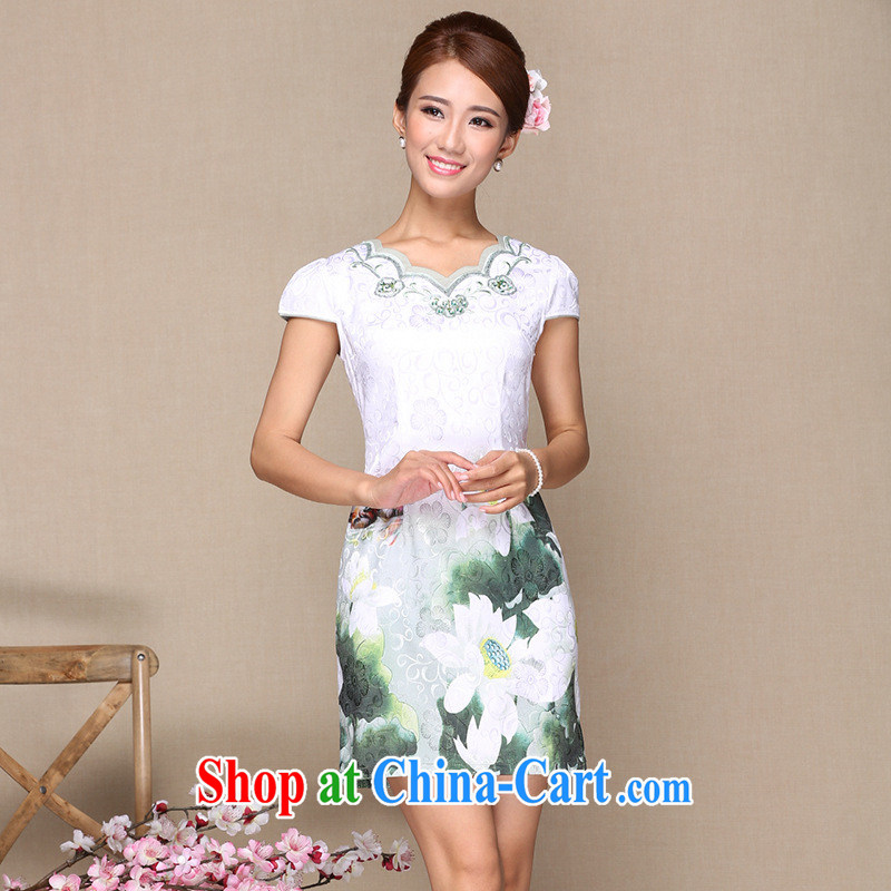 As regards modern and improved cheongsam dress summer 2014 modern improved cotton cheongsam dress as regards 2014 cheongsam dress picture color XL