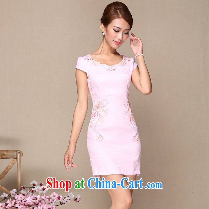 2014 as regards new stylish improved pink cheongsam dress daily improved embroidery cheongsam wholesale professional-quality pink XL