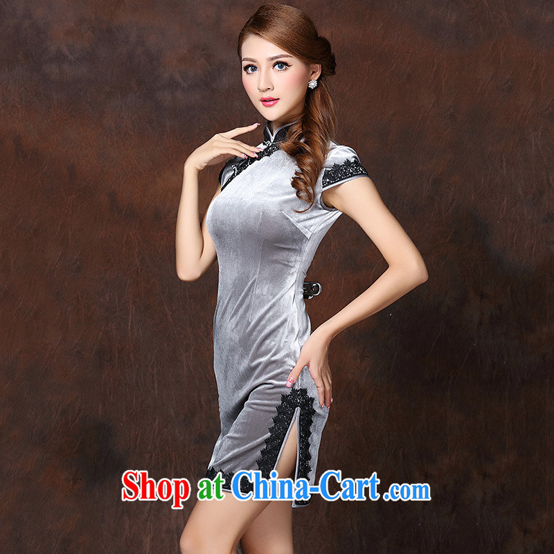 2014 new spring female fragrance, women's wool short open's improved cheongsam dress good sourcing silver XXXXL