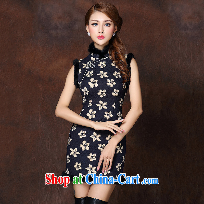 winter clothes 2014 new high-end really rabbit hair clip cotton stamp stylish improved cheongsam dress wholesale picture color XXL