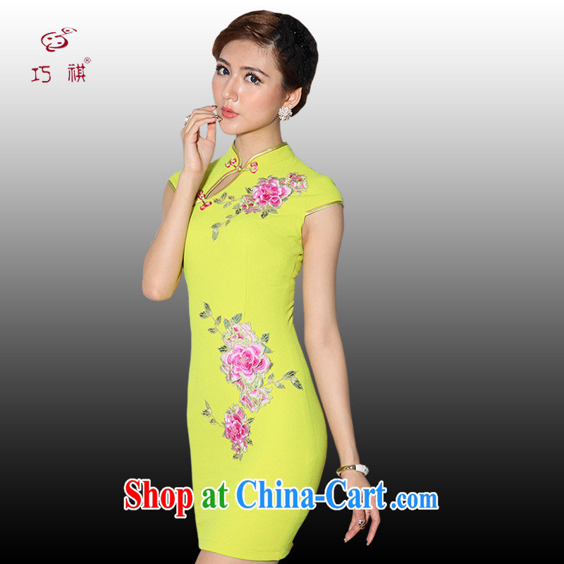 As regards genuine New Yellow Toner blue short improved embroidery cheongsam dress 2014 new improved short cheongsam yellow XL
