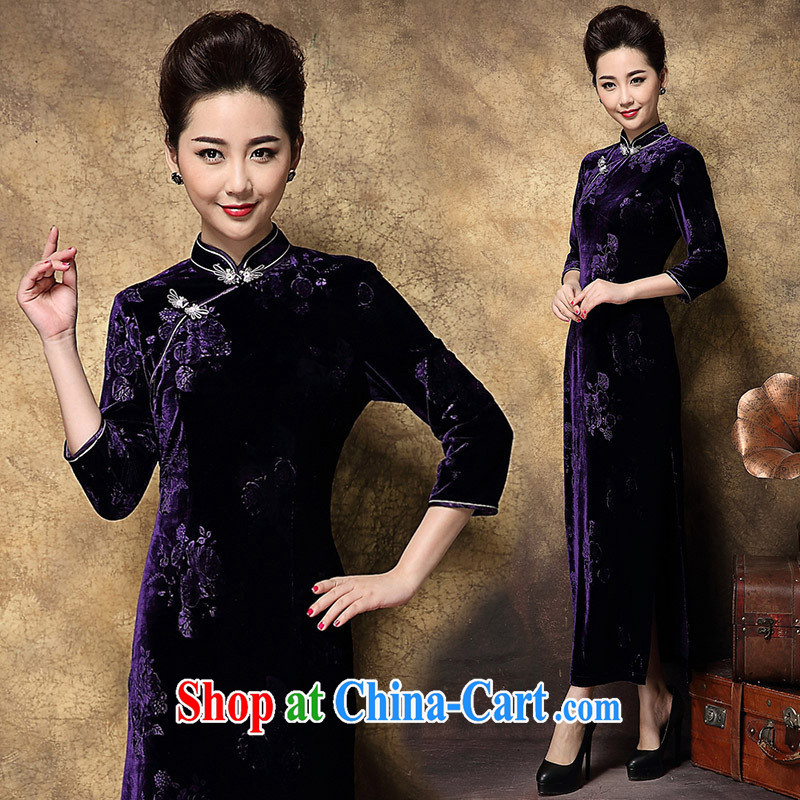 2014 new autumn Aura with cultivating long wool stamp duty 7 sub-cuff's cheongsam dress wholesale maroon XXXL
