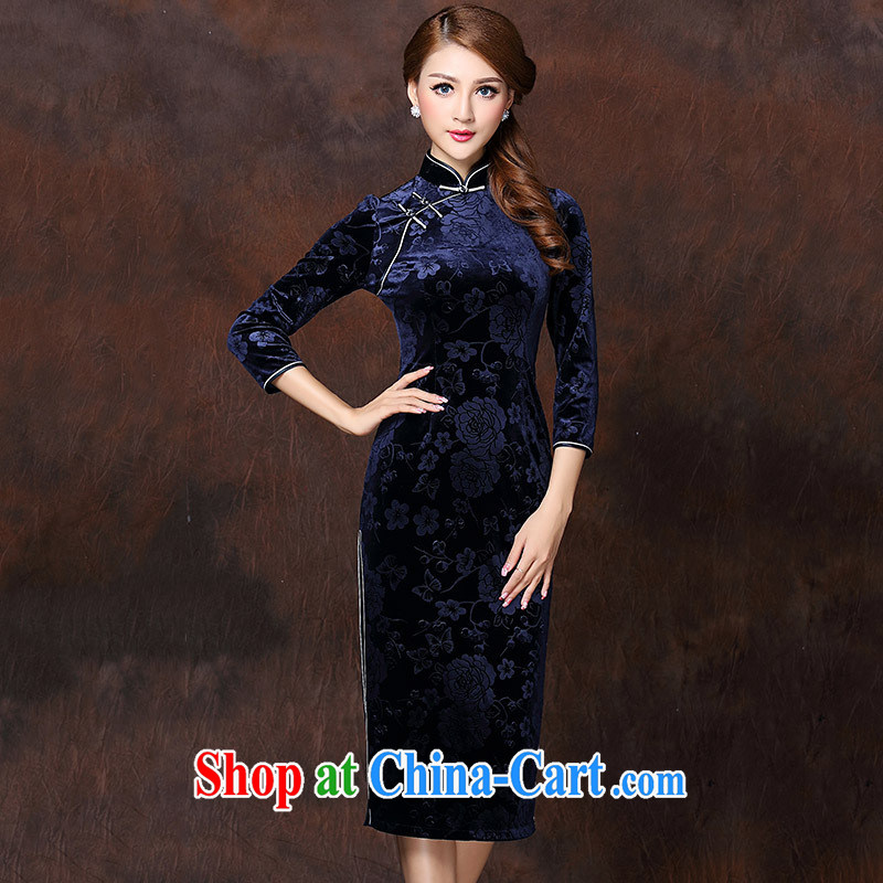 Winter 2014 new female Chinese Ethnic Wind and stylish improvements in long velvet cheongsam dress dark blue XXXXL