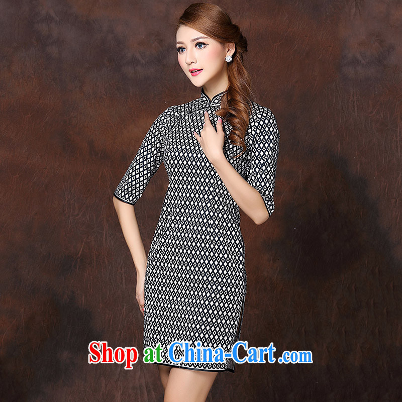 2014 winter clothes new small letter Hong Kong woman classic improved version cheongsam dress beauty retro picture color XXL