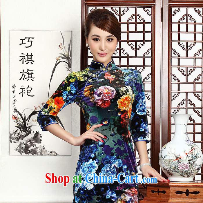 2014 fall and winter new female retro improved quality really wool beauty XL short-sleeved short cheongsam dress blue XXL