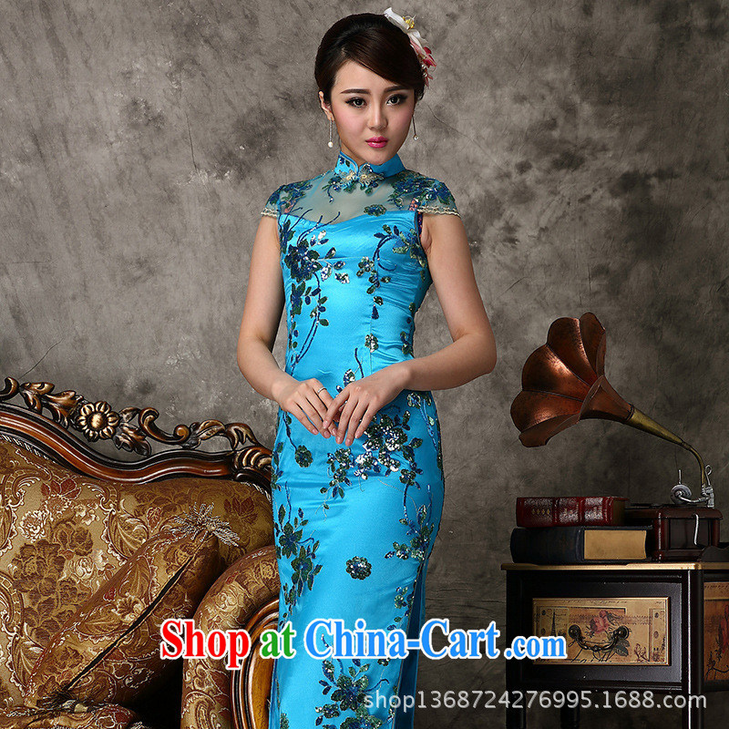 2014 new summer lace retro embroidery cheongsam lace retro quality dress upscale retro lace cheongsam blue XXL