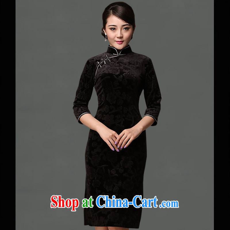 As regards new black flower cheongsam stylish autumn and winter retro wedding dresses upscale Silk Cheongsam beauty black XXXL