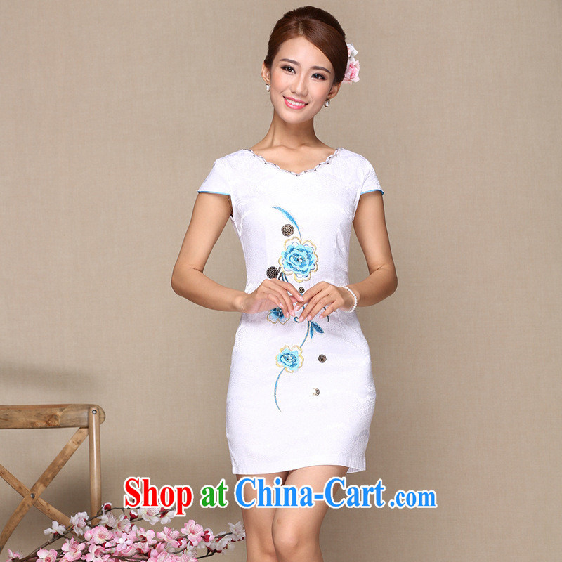 2014 as regards new stylish and improved cheongsam dress daily improved retro cheongsam dress embroidery improved cheongsam white XL