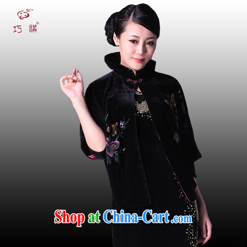 2014 winter, velvet shawl Chinese Peony rich Evening Dress frock coat Chinese improved T-shirt Tang black XXXL