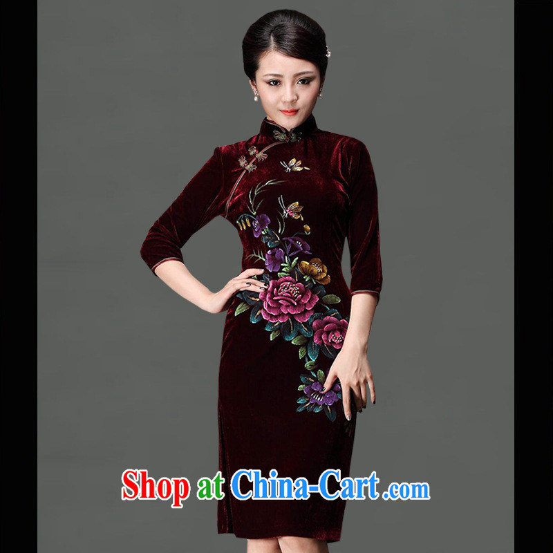 As regards genuine hand-painted modern improved cheongsam noble take-in day-long dresses in long dress purple XXXL