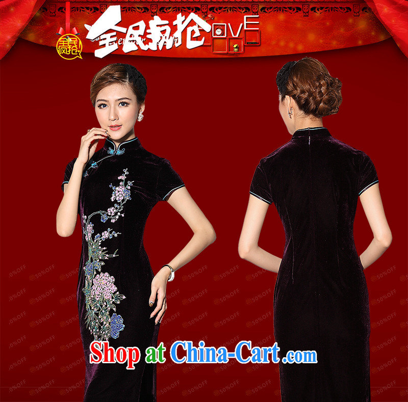 Recommended new paragraph as regards Genuine gold velour hand-painted nails Pearl short cheongsam daily hand-painted short cheongsam custom purple short-sleeved XXXL