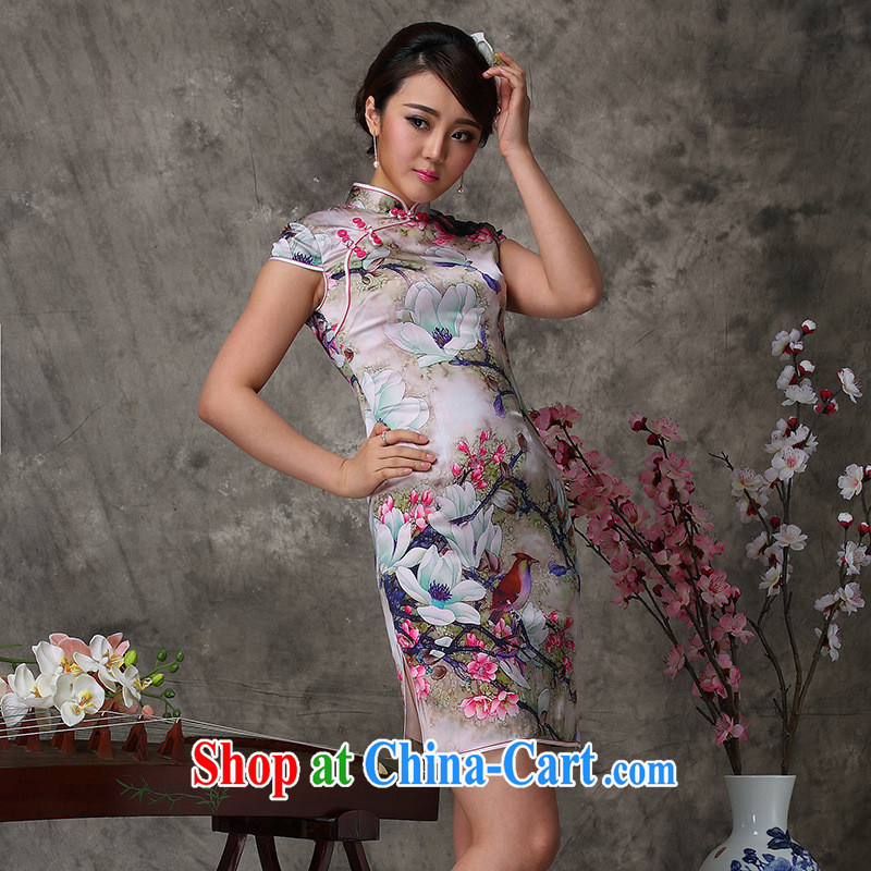 2014 new qipao cheongsam dress improved stylish summer as regards cycle will probably smoke cheongsam wholesale heavy Silk Cheongsam picture color XXL