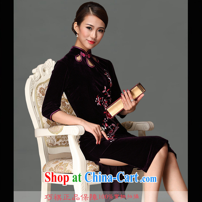 As regards new embroidery short cheongsam 2014 stylish embroidery cheongsam dress daily improved embroidery wholesale dresses purple XXXL