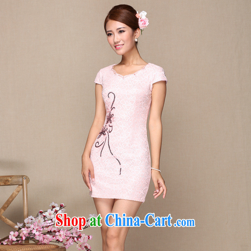 As regards 2014 new summer cheongsam dress daily improved cheongsam lace improved fashion cheongsam pink XL