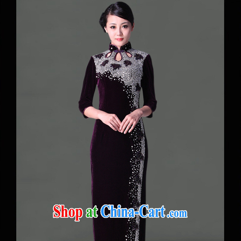 2014 new Pure manually staple-ju long, plush robes and stylish retro elegant fine ladies dresses wholesale purple cuff in XXXXL