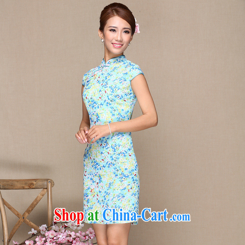 As regards new stylish improved cheongsam dress cheongsam dress daily improved fashion cheongsam dress cheongsam dress picture color XL