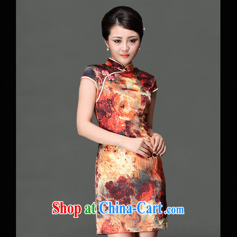 As regards genuine 2014 upscale silk short spring and summer outfit New improved short-sleeve Day Banquet silk dress picture color XXXL