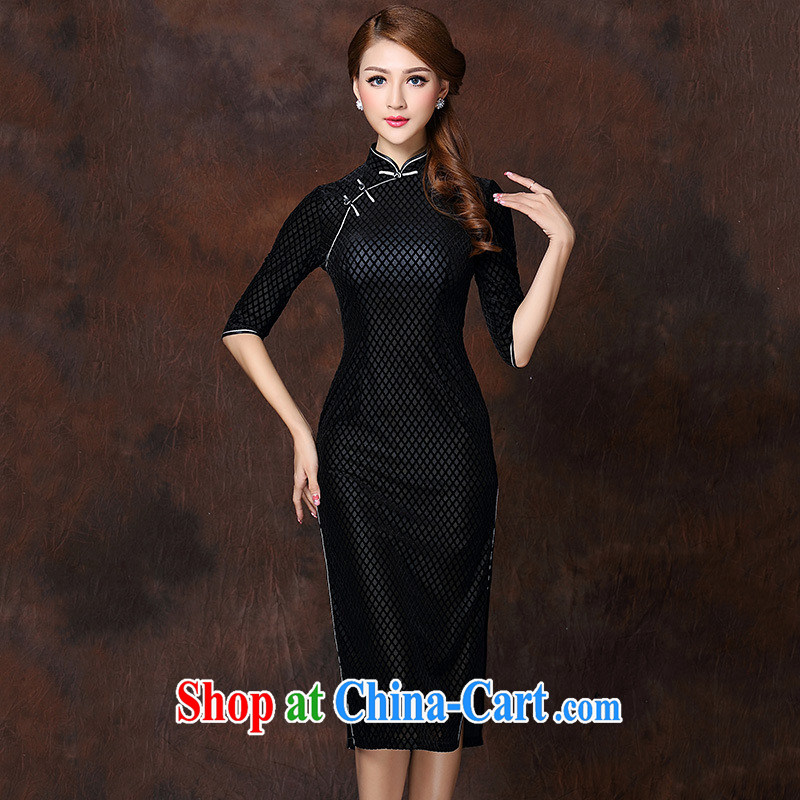 Winter 2014 new female elegant retro quality wool, long, improved cheongsam dress black XXXXL