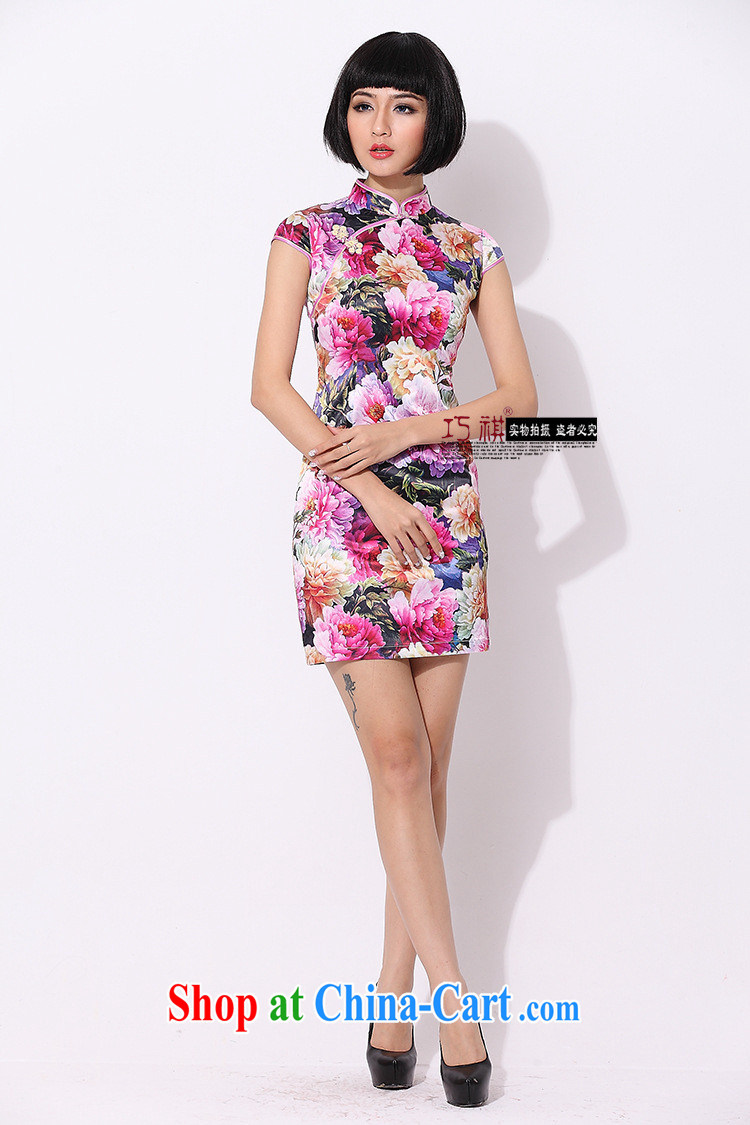 As regards genuine 2014 new stylish improved cheongsam daily summer dresses skirts cultivating female improved sexy outfit red XXXL