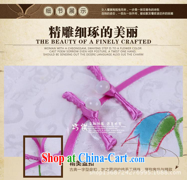 2014 improved beautiful hand painted dresses summer arts hand-painted dresses show lady everyday dress cheongsam white XXL pictures, price, brand platters! Elections are good character, the national distribution, so why buy now enjoy more preferential! Health