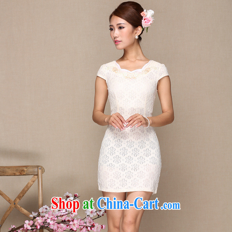 As regards new lace improved cheongsam dress stylish lace improved cheongsam daily improved lace cheongsam dress white XL