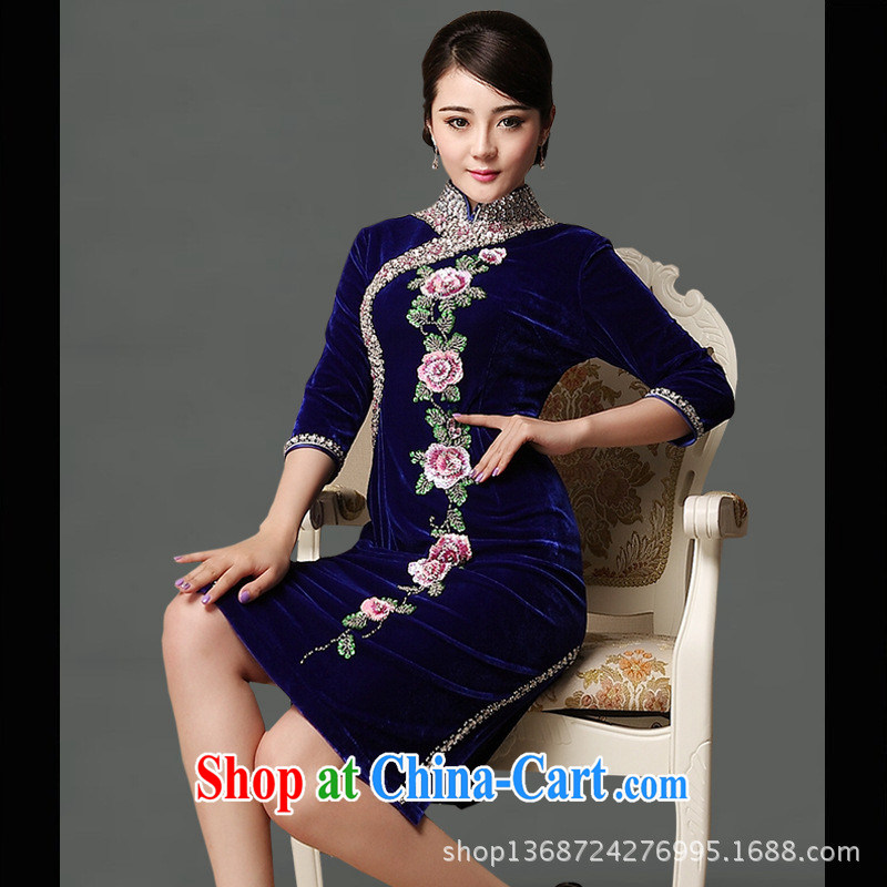 Long-term supply high quality long-sleeved robes new genuine wool winter cuff in cheongsam dress improved cheongsam wholesale blue XXXL