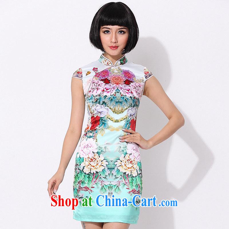 As regards 2014 new summer retro elegant qipao skirts 8001 upscale silk daily retro cheongsam dress green XXL