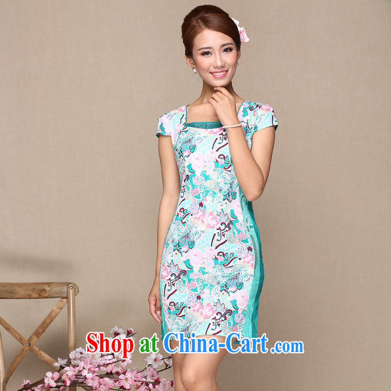 As regards new improved stylish dresses dress suits daily improved cheongsam dress hot drill improved quality qipao dress picture color XL