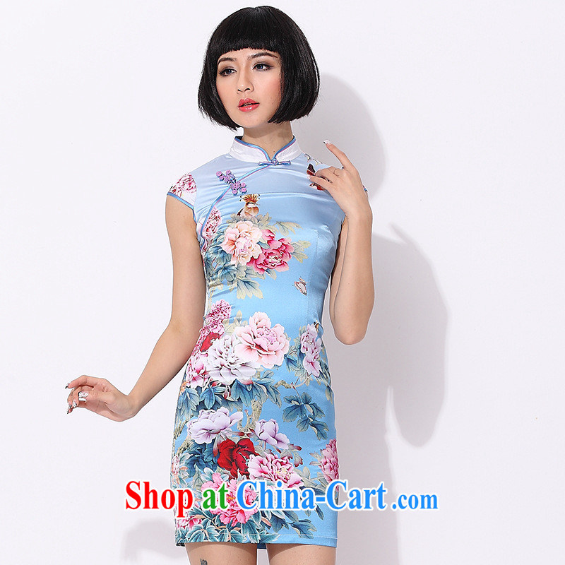 As regards genuine Silk Cheongsam high retro daily positioning improved cheongsam dress Ethnic Wind stamp cheongsam dress blue XXL