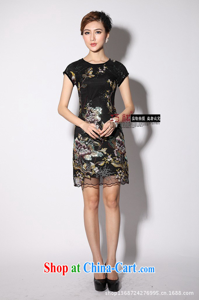 2014 New Beauty short improved cheongsam wholesale Autumn with stylish embroidery of the Optimize cheongsam dress improved black XXXL