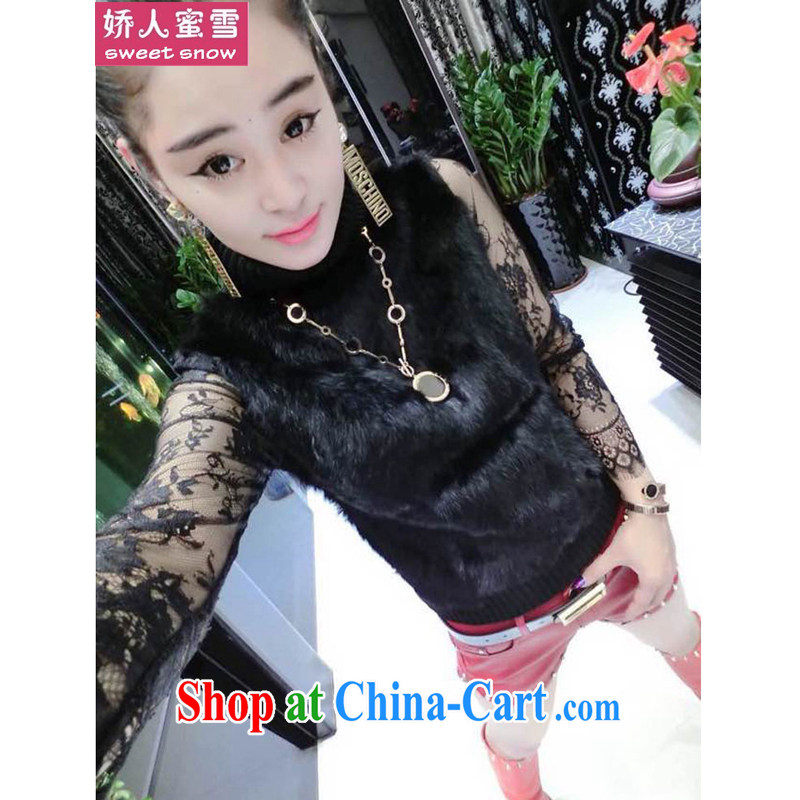 Aviation, honey snow 2014 the European site stylish rabbit hair stitching lace 100 ground knitted T-shirt black one size