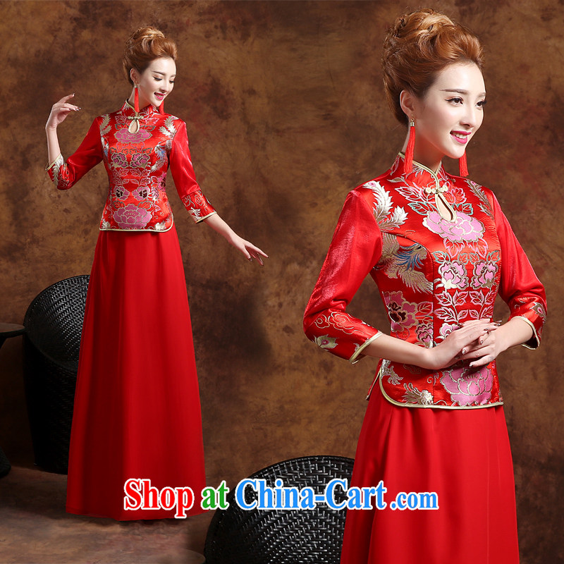 long-sleeved long serving toast dress Winter Fashion 2015 new beauty, winter bride toast wedding dresses serving winter retro fashion toast clothing cheongsam red L