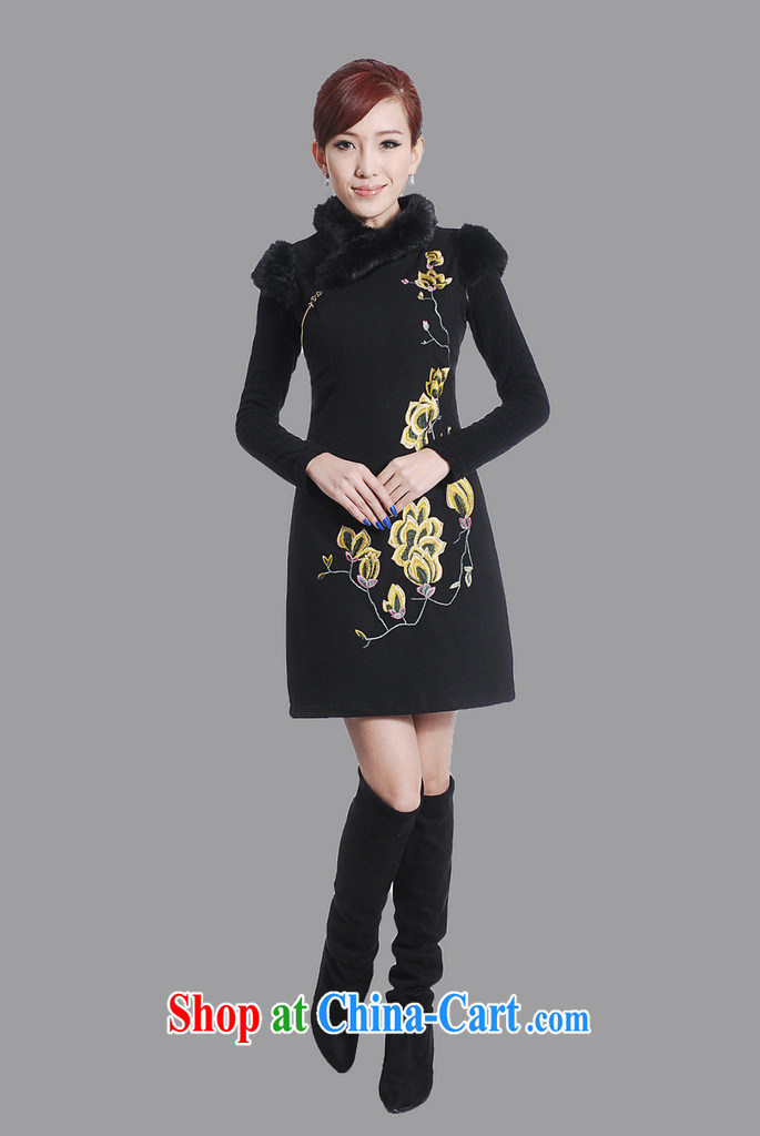 spend the winter clothes new cheongsam dress Chinese Chinese improved the collar embroidered wool collar wool dresses? dress black 2 XL pictures, price, brand platters! Elections are good character, the national distribution, so why buy now enjoy more preferential! Health