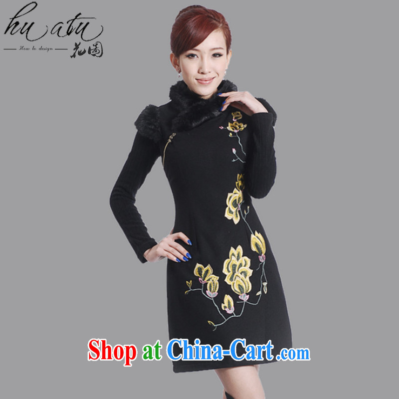 spend the winter clothes new cheongsam dress Chinese Chinese improved the collar embroidered wool collar wool dresses? dress black 2 XL