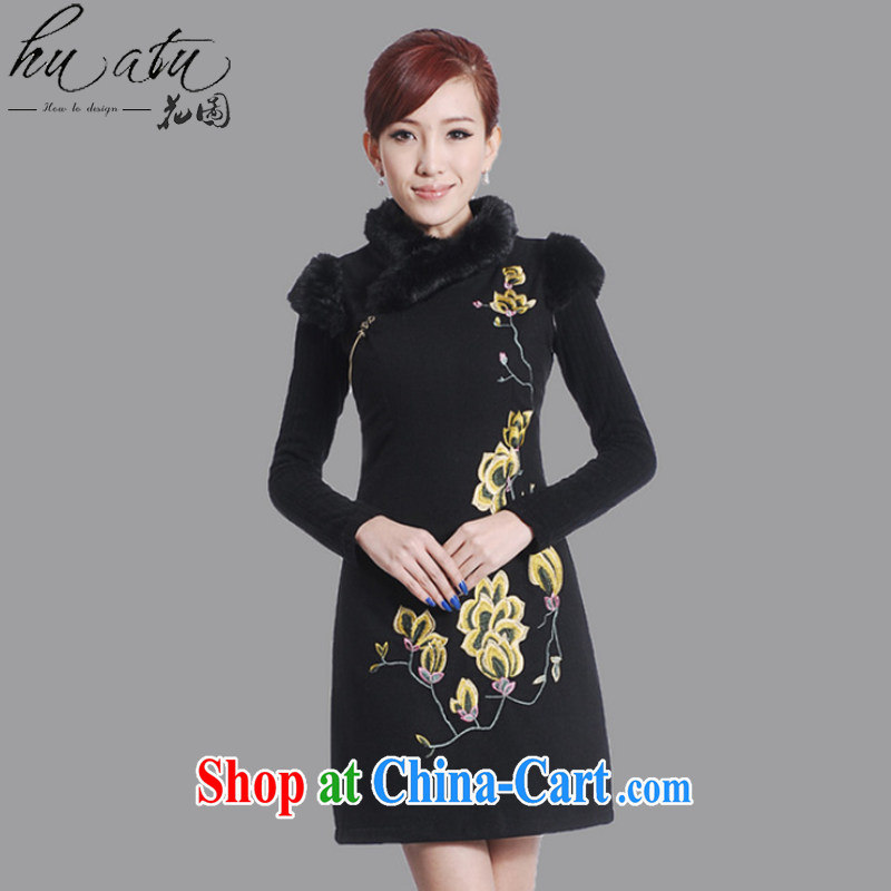 spend the winter clothes new cheongsam dress Chinese Chinese improved the collar embroidered wool collar wool dresses? dress black 2 XL, spend figure, shopping on the Internet
