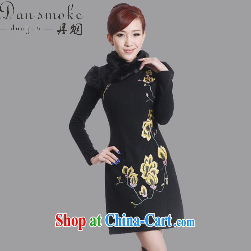 Bin Laden smoke winter clothes new cheongsam dress Chinese Chinese improved the collar embroidered wool collar wool dresses that suit black 2 XL