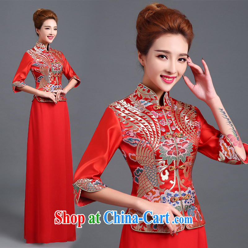 100 the ball toast clothing dresses 2015 fall_winter new dress cheongsam red retro bridal wedding toast serving long-sleeved beauty serving toast cheongsam dress red L
