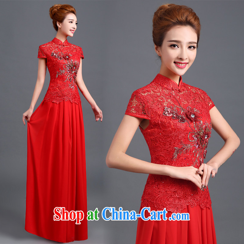 robes bows Service Bridal toast clothing dress fashion 2015 fall and winter clothes toasting new bridal wedding dresses red long Chinese wedding dresses dress red L