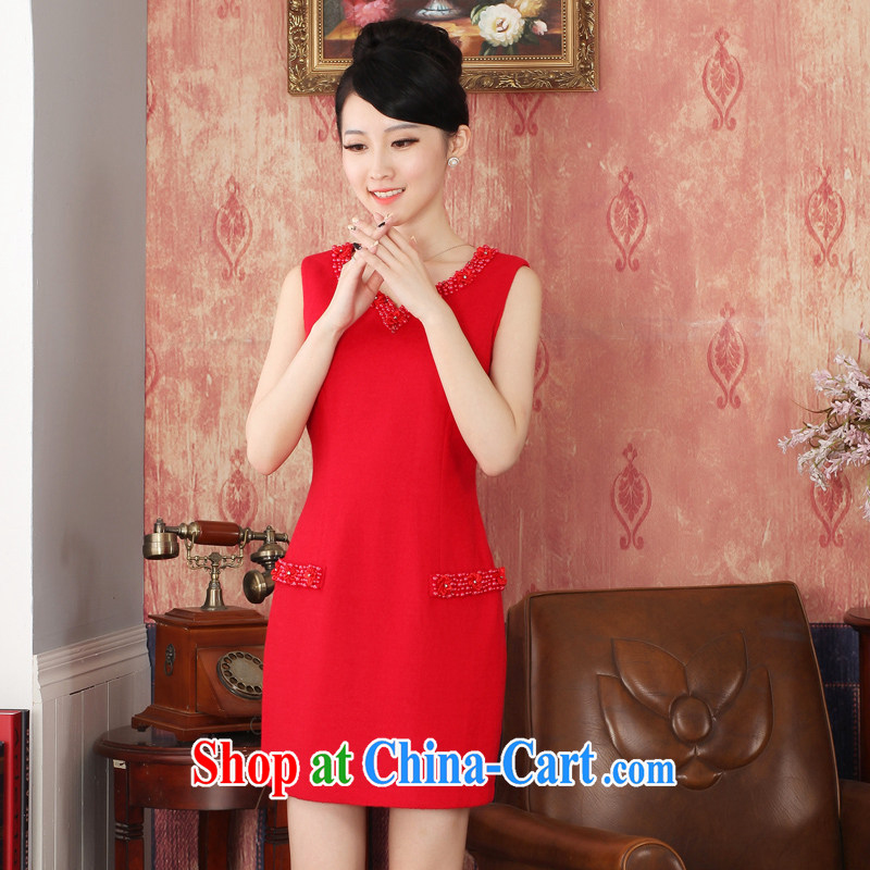 East noble counters are no cuff-cultivating pure color Eurasian embroidery short, no fork wool girl cheongsam dress short XXL
