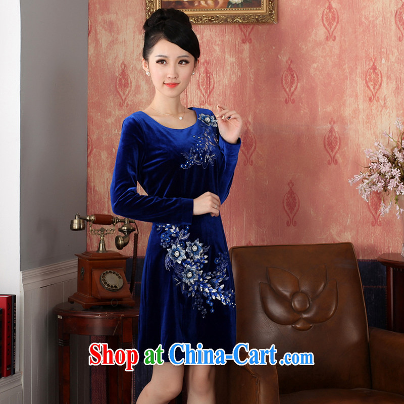 East noble counters are no cuff-cultivating pure color Eurasian embroidery short, non-truck velour cheongsam girls dresses short blue XXL